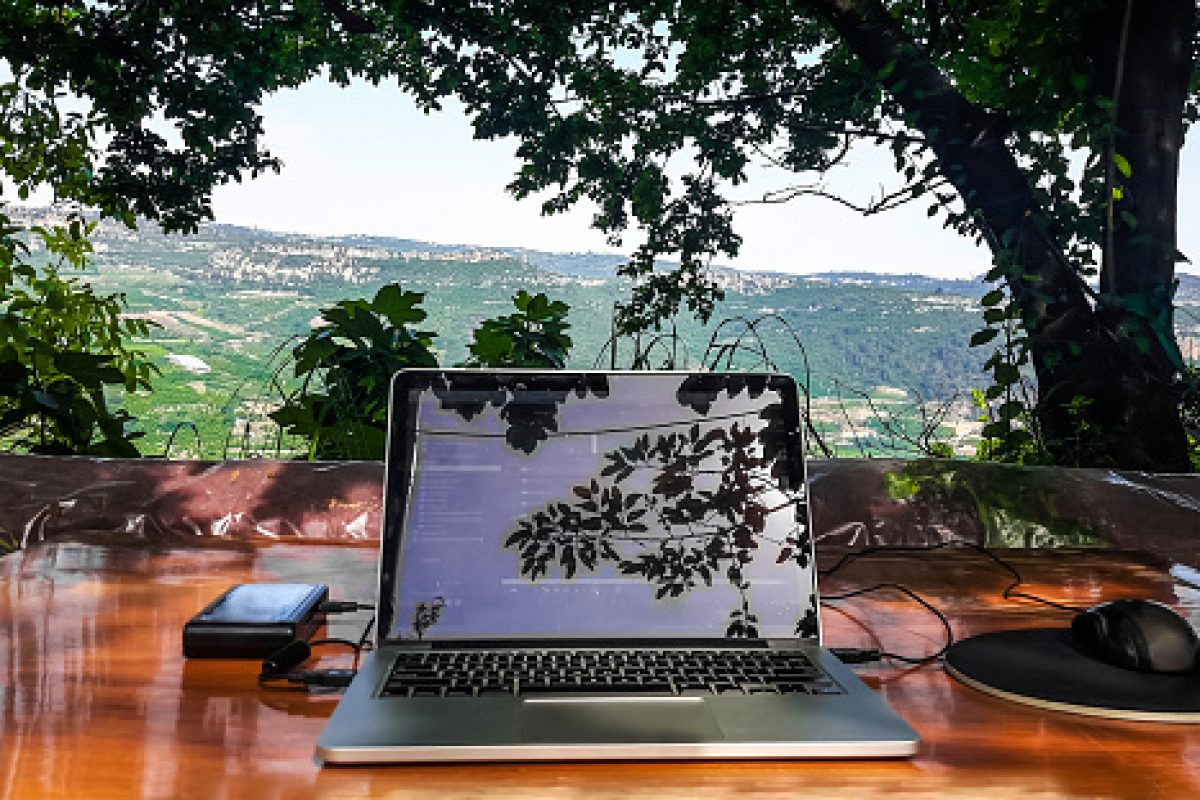 Modern freelance office in nature